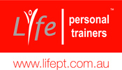 Page logo life personal trainers tm with website pms white   grey 35 with red background